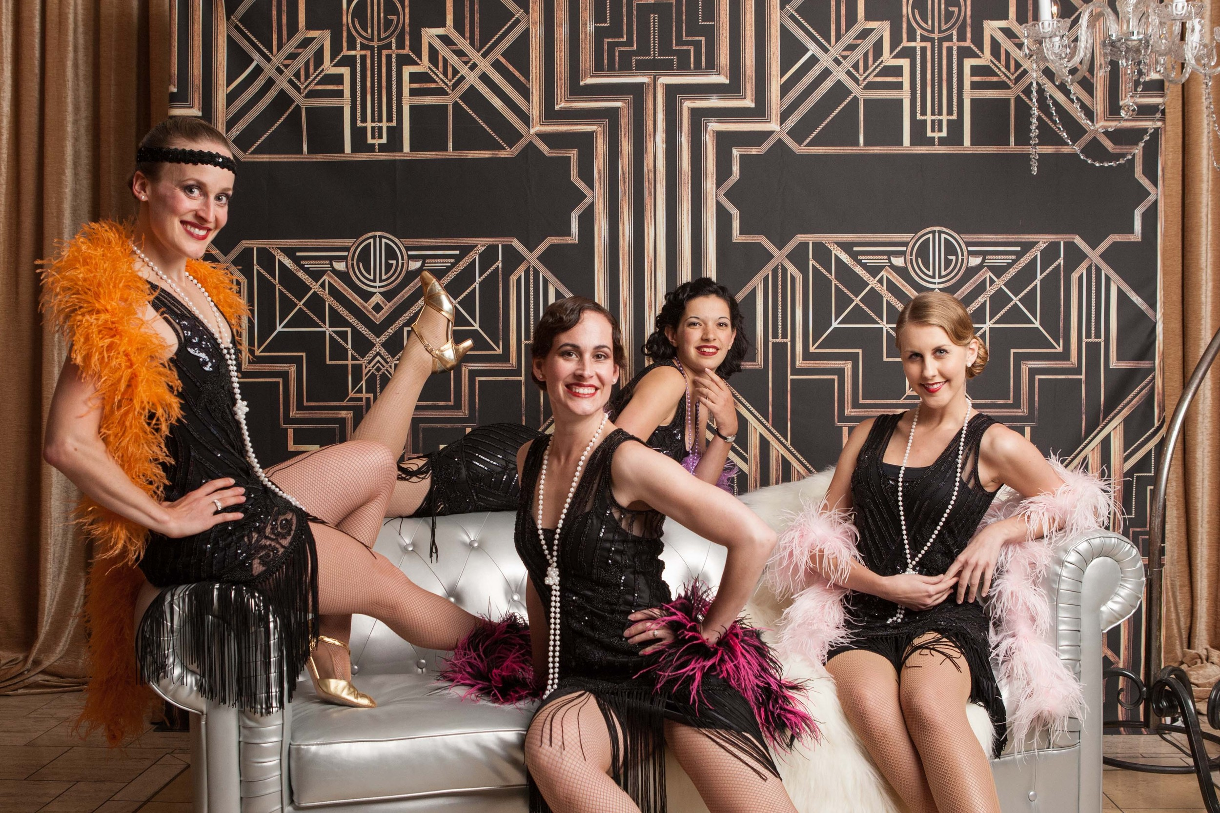 Decobelles at a 1920s themed party