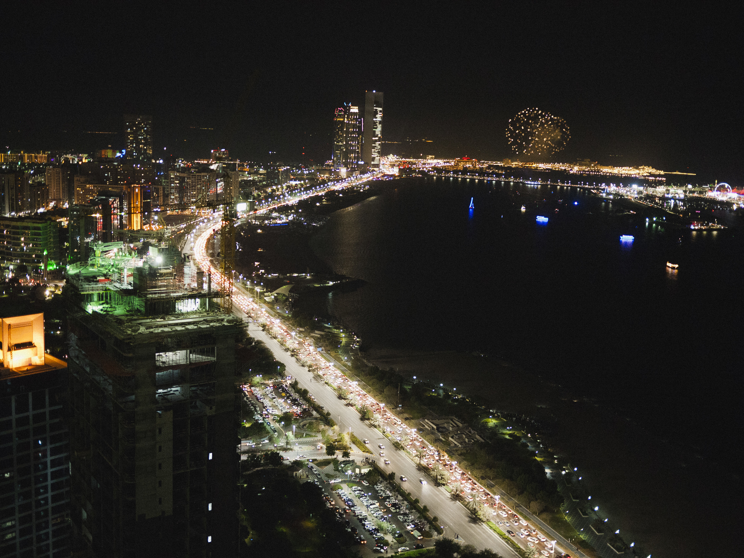 Watching fireworks back at Landmark Tower in Abu Dhabi for New Year's Eve