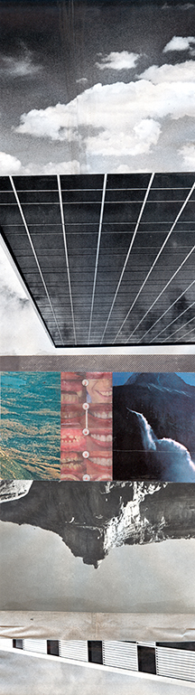Josh Slater,  High Speed,  2014, Book pages, magazine pages, Jade adhesive, 15 1/4 x 19 1/4 inches