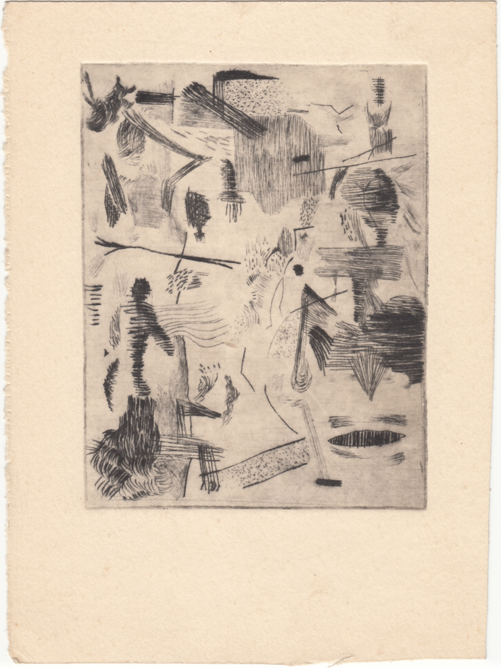 Malcolm McClain, Untitled, c. 1952, etching on paper, 7.5 x 5.5 inches