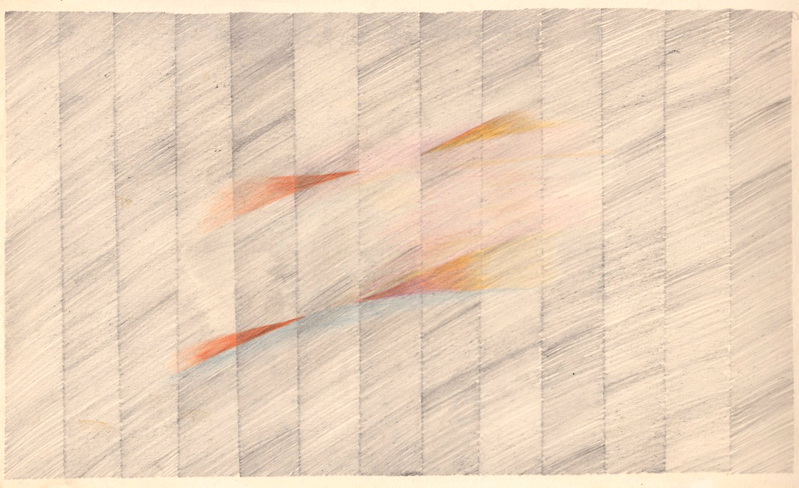 Malcolm McClain, Untitled, c. later 1970s, Graphite and colored pencil on paper, 7.3125 x 23 in