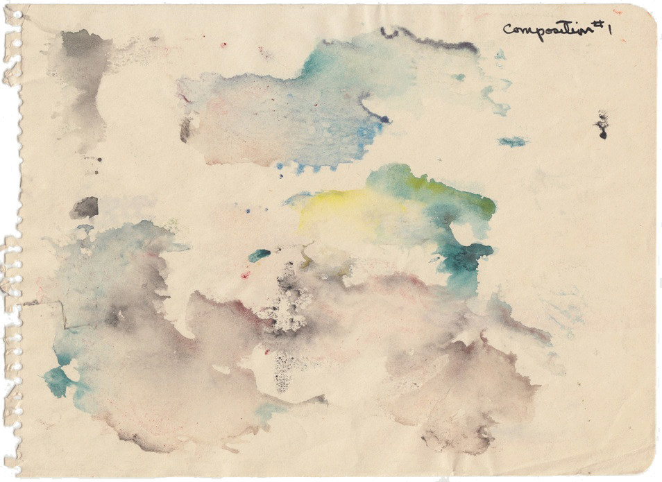 Malcolm McClain, Composition #1, c. 1952, Watercolor on paper, 6.5 x 8.75 in