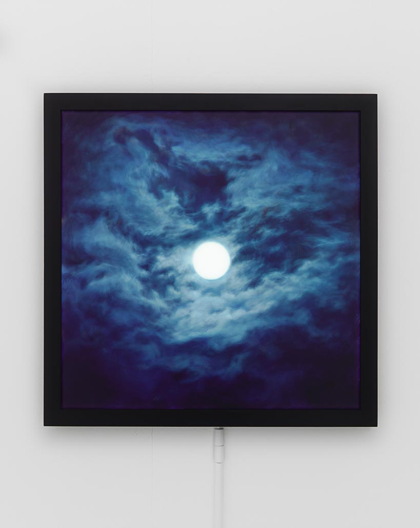 Peter Rostovsky   , Moon   , 2015  , 18 x 18 in.  , Photoshop painting done on Wacom tablet, original file free to download at peterrostovsky.com; Lambda print in custom-made, unlimited edition LED lightbox