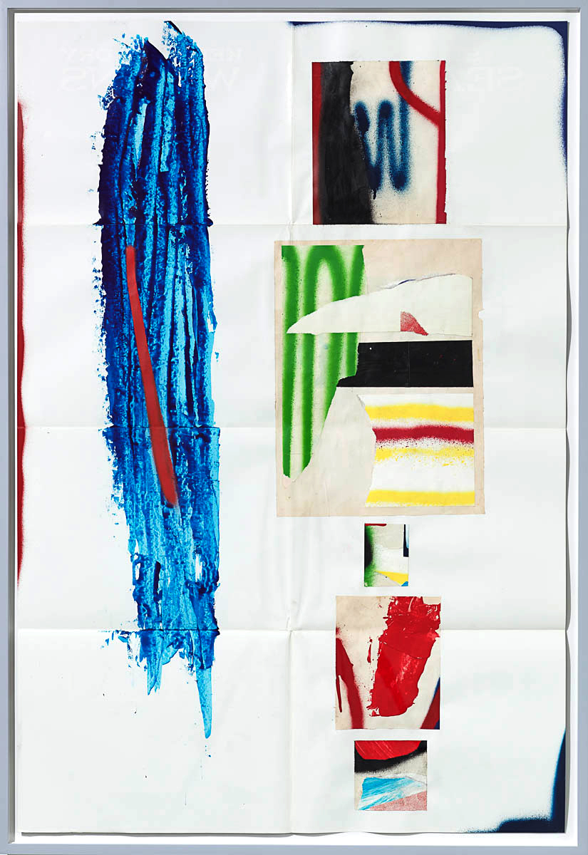 Josh Slater     Quite Catchy,    2015   Painted cut, torn, and pasted printed papers, spray paint on printed paper   Framed dimensions:   42 x 29 in. (106.68 x 73.66 cm)  , JOS1046