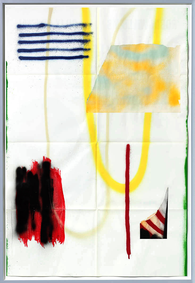 Josh Slater     Too Many Days, Not Enough Nights,    2015   Painted cut, torn, and pasted printed papers, spray paint on printed paper   Framed dimensions:   42 x 29 in. (106.68 x 73.66 cm)  , JOS1048