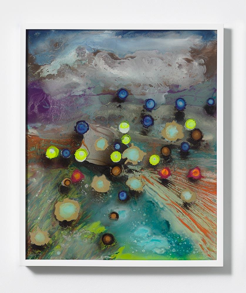 Giacinto Occhionero,  Hailstorm , 2016,Spray paint on plexiglass,24 7/16 x 20 1/2 inches (62.07 x 52.07 cm)