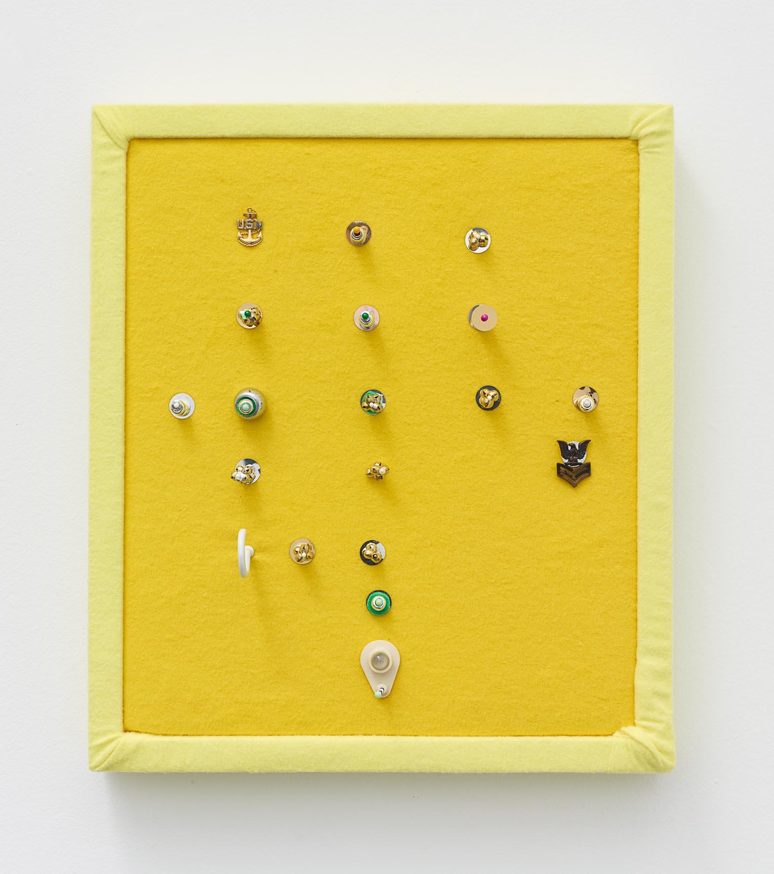 Brock Enright, Lemon Code, 2017, Mixed media on felt, 16 x 14 x 2 in.