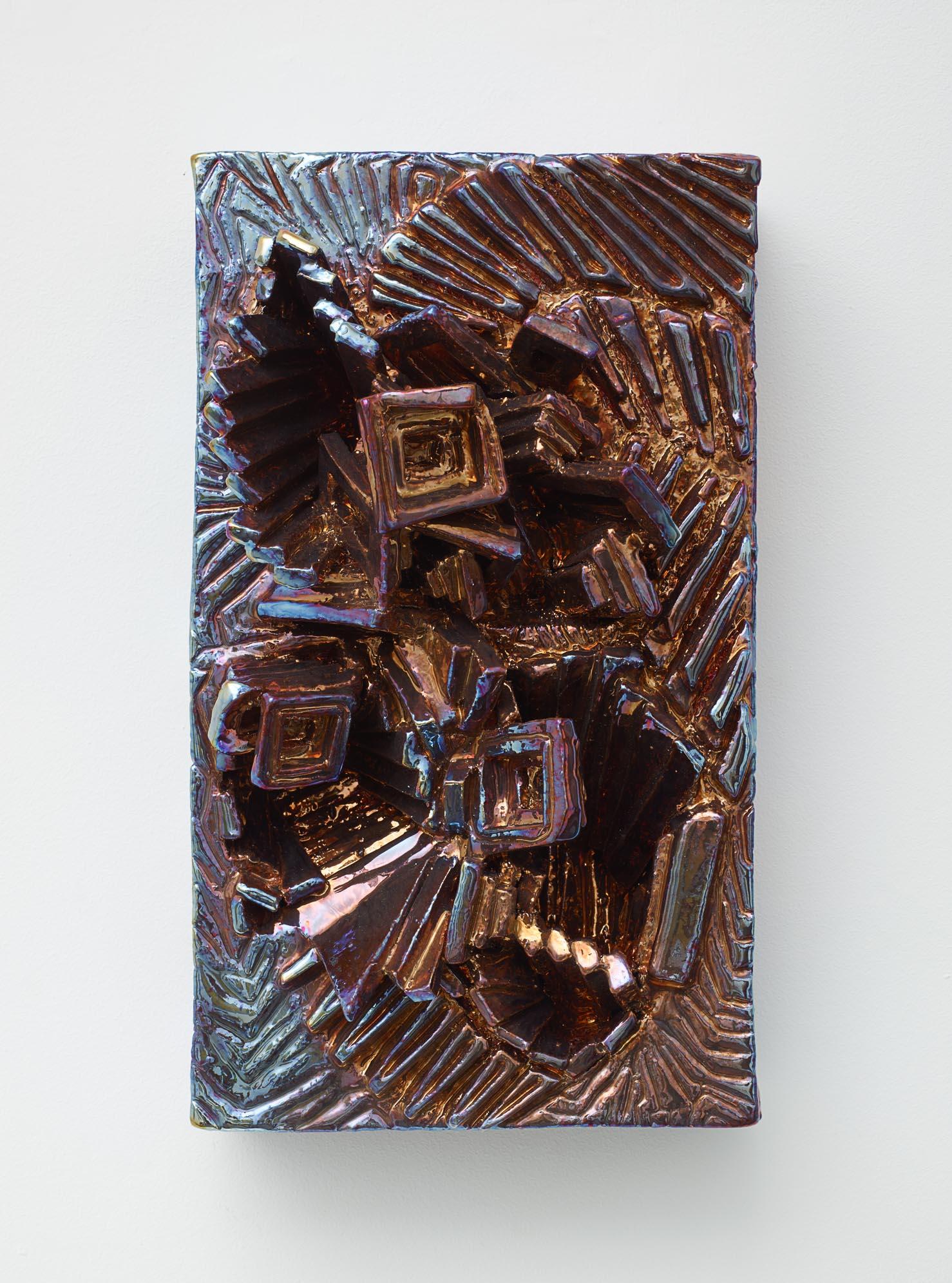 Julia Kunin,  Copper and Blue Portrait , 2014, Ceramic, 15 x 9 x 6 inches