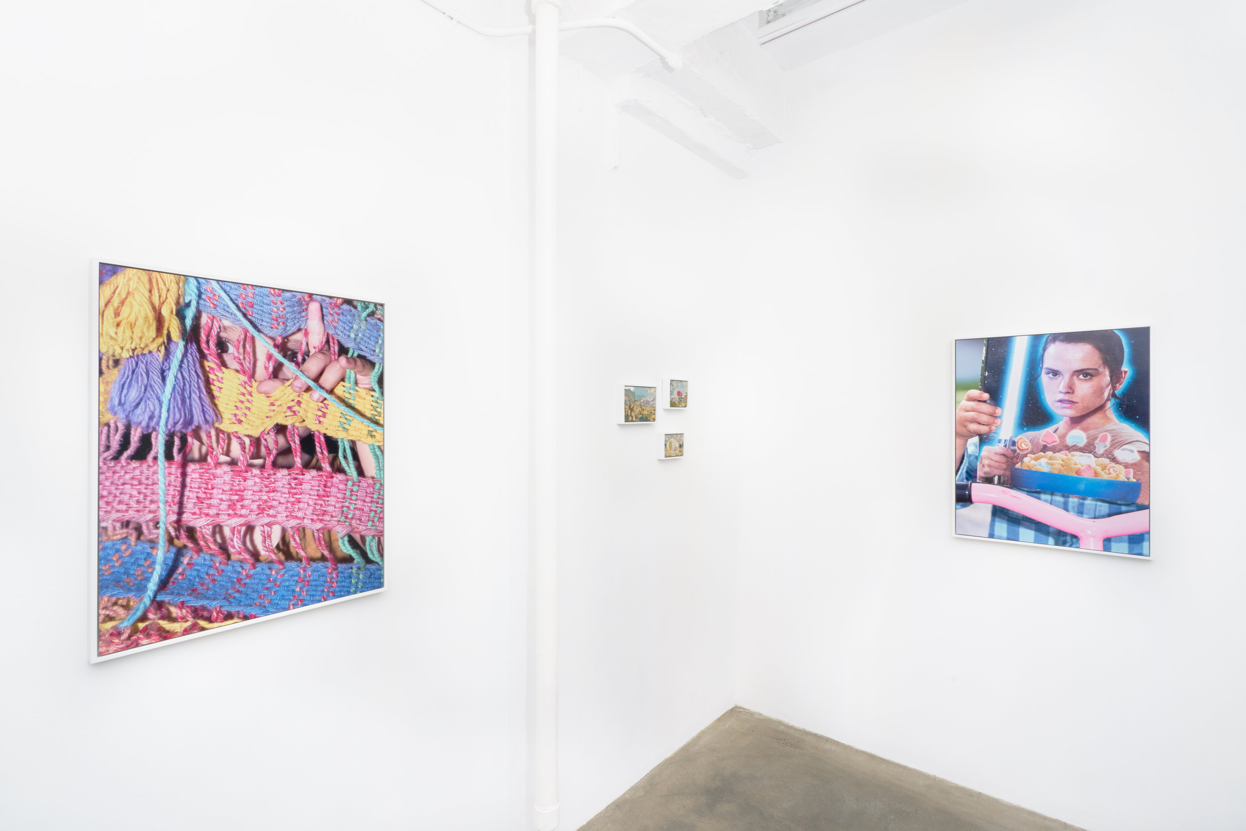 Installation view of framed photographs in Scott Alario's solo exhibition 'Soft Landing'