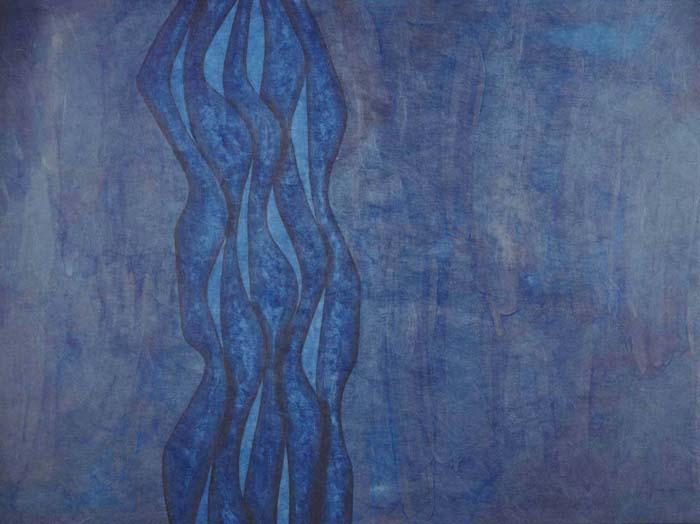 """Blue Spiral 36 2/1"""" x 26 1/2"""" ink on paper"""