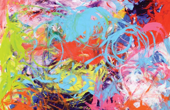 "Circle in Motion I   20""x26"" acrylic on paper"