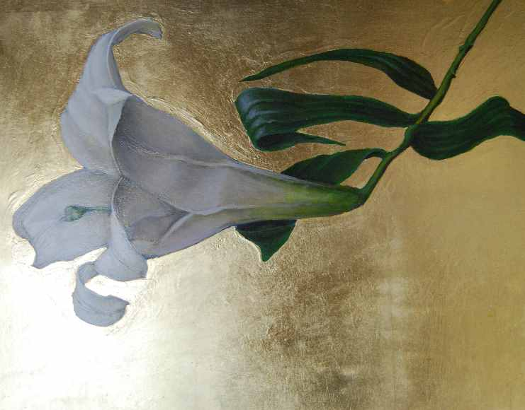"Lily 2  oil and gold leaf on panel  11""x14"""