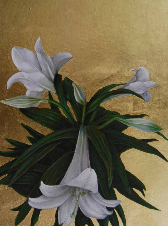 "Lily 15  oil and gold leaf on panel  16""x12"""