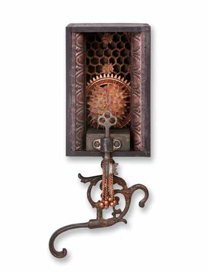 "Gate Keeper  4""x11""x3""  Assemblage (wooden gear, chestnut tree ball, teak carving, misc. copper parts, old key, gas lamp part)"