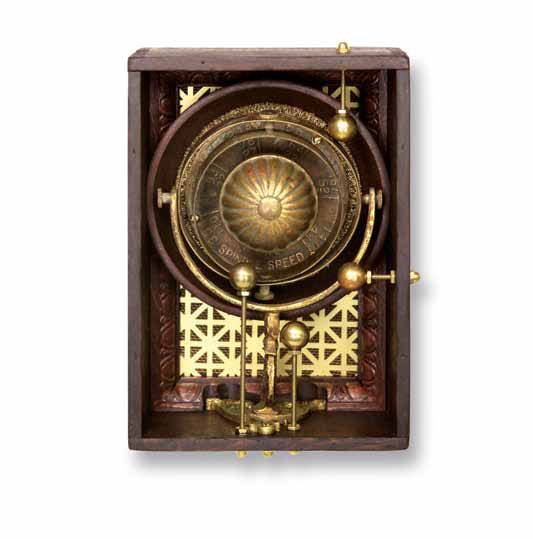 "Nicholas  7""x10""x3""  Assemblage (spindle speed dial, misc. brass hardware, brass orb holder, wooden bowl, brass buffing wheel)"