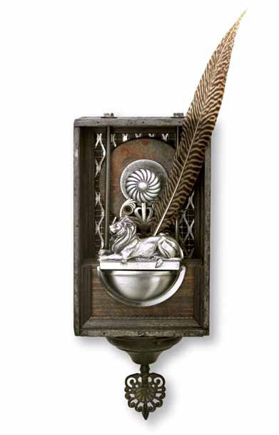 "Patience  6""x17""x4""  Assemblage (drawer pulls, pewter lion paper weight, pheasant feather, grinding wheel, steel grill, carriage bolts, decorative finial)"