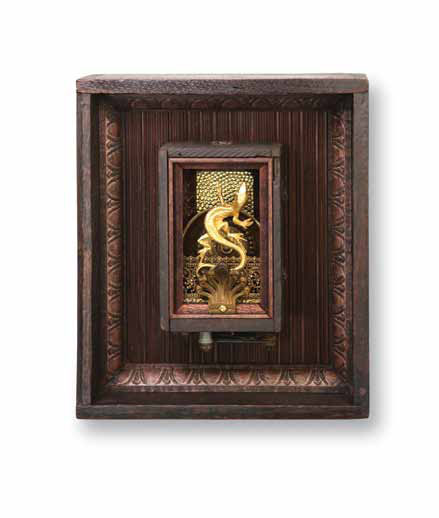 "Liz  8""x`10""x4""  Assemblage (brass lizard pin, model T battery, misc. decorative brass, teak panel)"