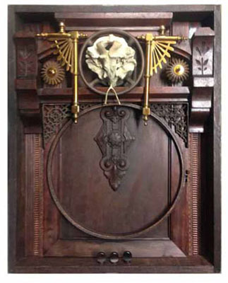 ".Old West 18""x23""x4"" Assemblage (tuning pegs, carved door panel, candelabra, furniture part, needlepoint hoop, fire extinguisher part, shelf brackets, animal skull, chicken wish born)"