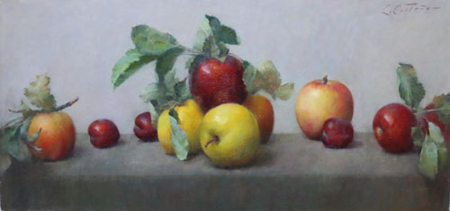 "Carlos Castano  15""x26""  Apples & Plums  oil on board"