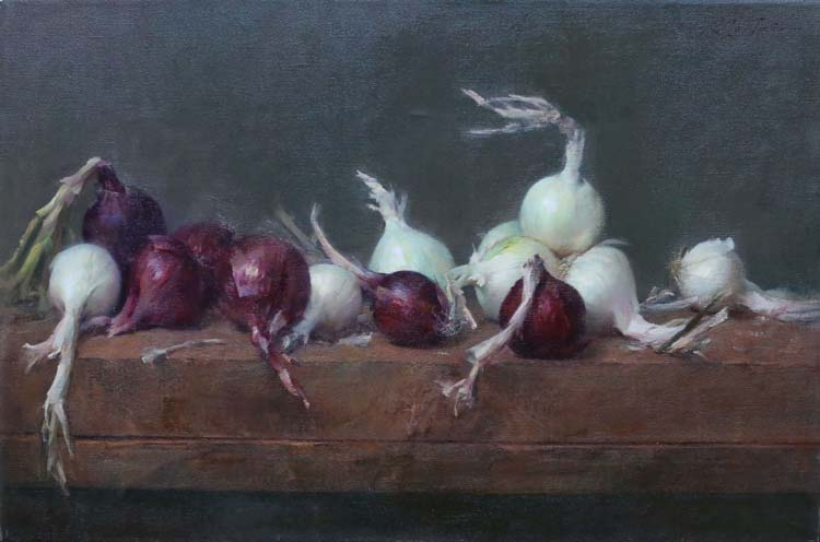 """Carlos Castano White and Red Onions 22""""x30"""" oil on linen"""