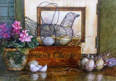 """Deborah Chabrian Some Egges in a Basket 7""""x10"""" watercolor on paper"""
