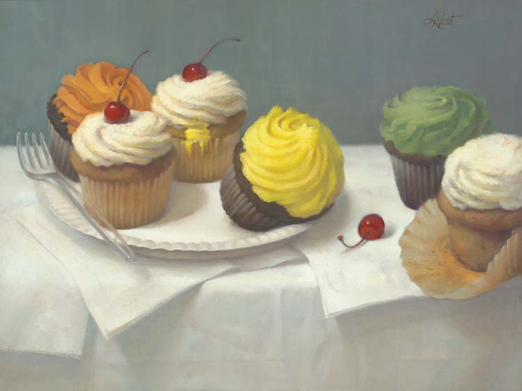 """Linda West   Cupcake Party 12""""x16""""oil on board"""