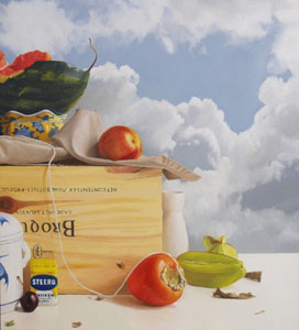 "Randall W. L. Mooers  Nectarine  16'x18""  oil on panel"
