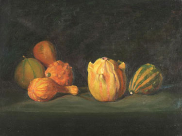 "Riano D. Reno  Gourds  12""x16""  oil on canvas"