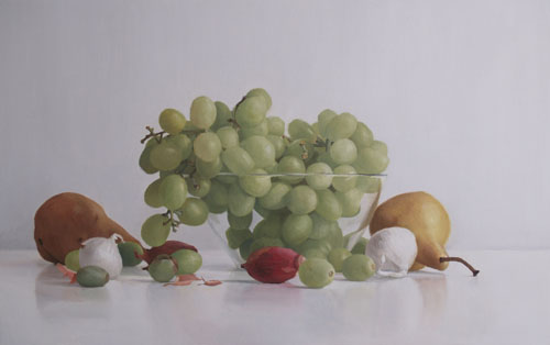 Randall W.L. Mooers  Grapes & Pears with Glass Bowl oil on board