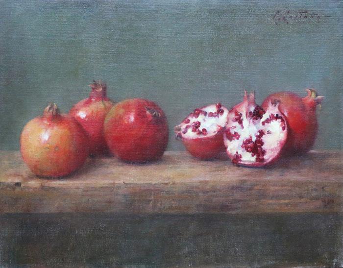 """Carlos Castano Pomegranate 16 1/2""""x20"""" oil on linen"""