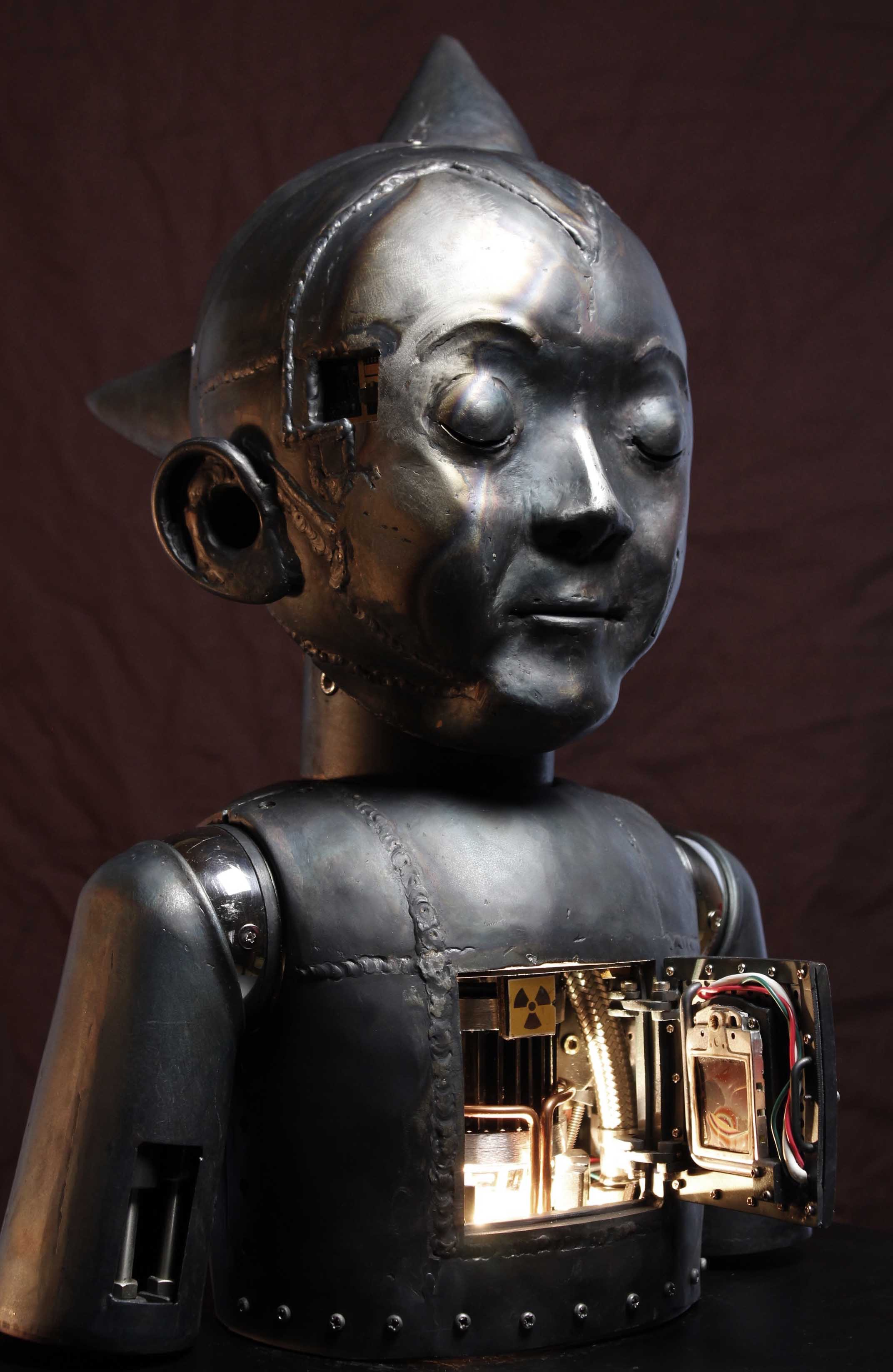 """The Sin of Astro Boy  12.9""""x11.81""""x18.30"""" steel, glass beads, stainnless"""