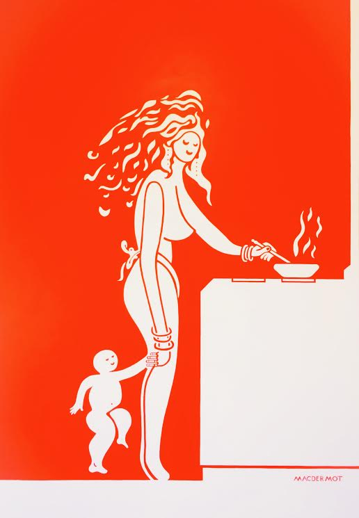 "Big Red NYC series - Hot Mama at the Stove           84""x 60"" acrylic on canvas"