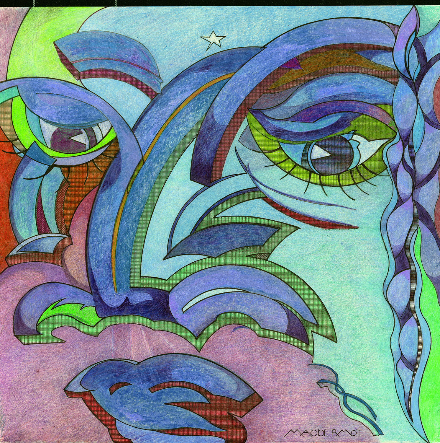 "INTENSITY series - WATCHING pen and ink, pastel and colored pencil on strathmore paper 19"" x 19"""