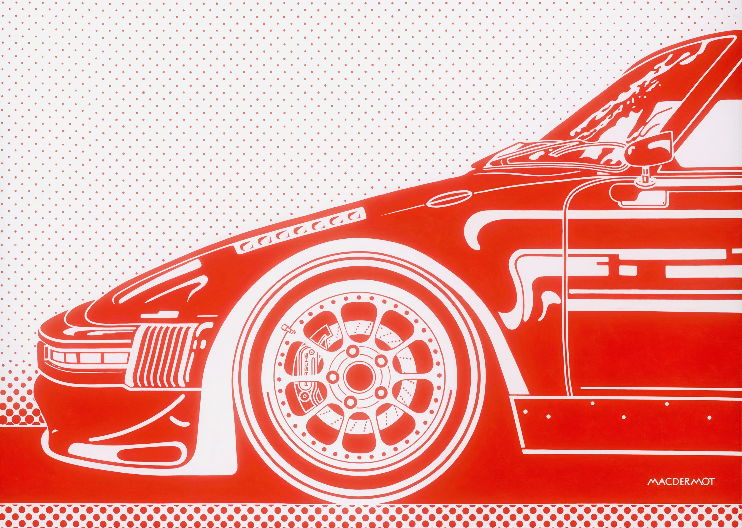 "Big Red NYC series - Porsche 930 Slantnose Outlaw 60"" x 84""    acrylic on canvas"