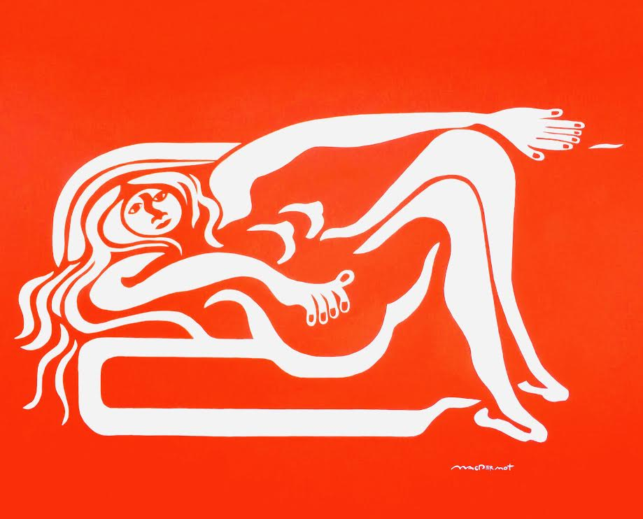 "Red Big NYC series - Reclining Woman 60""h x 84""w acrylic on canvas"