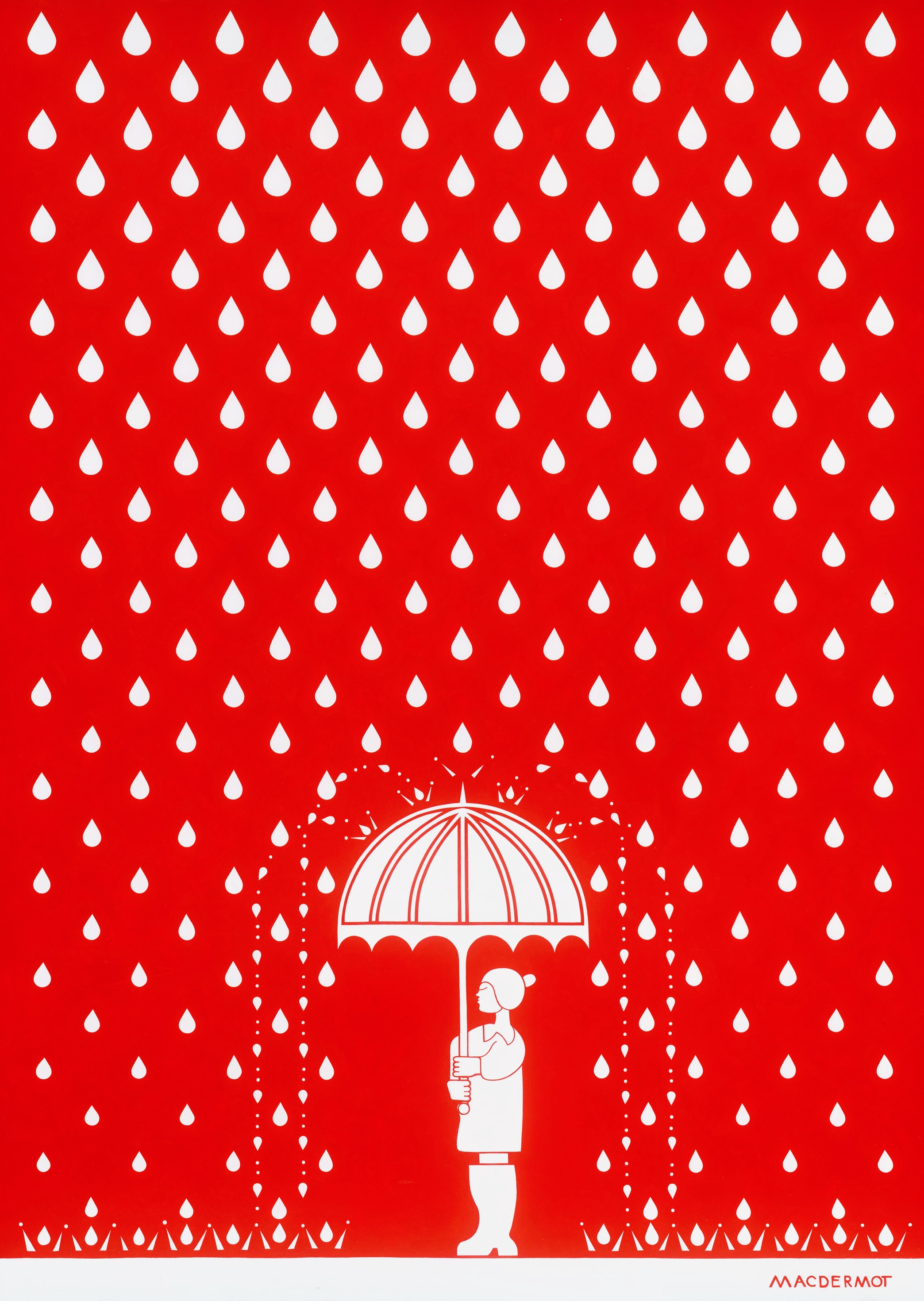 "Big Red NYC series - The Rain Lover 85""x60"".   acrylic on canvas"