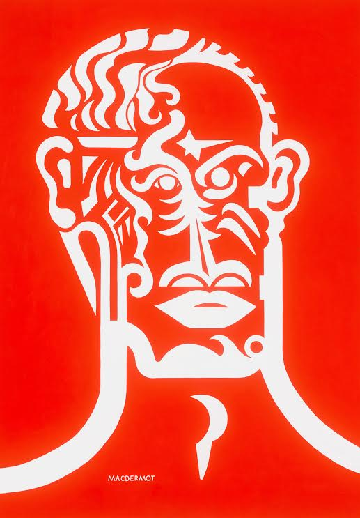 "Big Red NYC series - Spiritual Spartan 84"" x 60  acrylic on canvas"