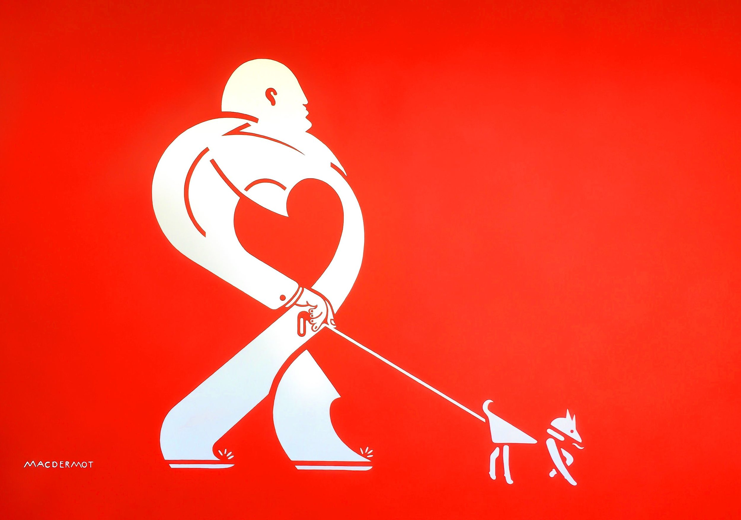 "Big Red NYC series - Mr. Heart Walks his dDog. 60"" x 84""  acrylic on canvas"
