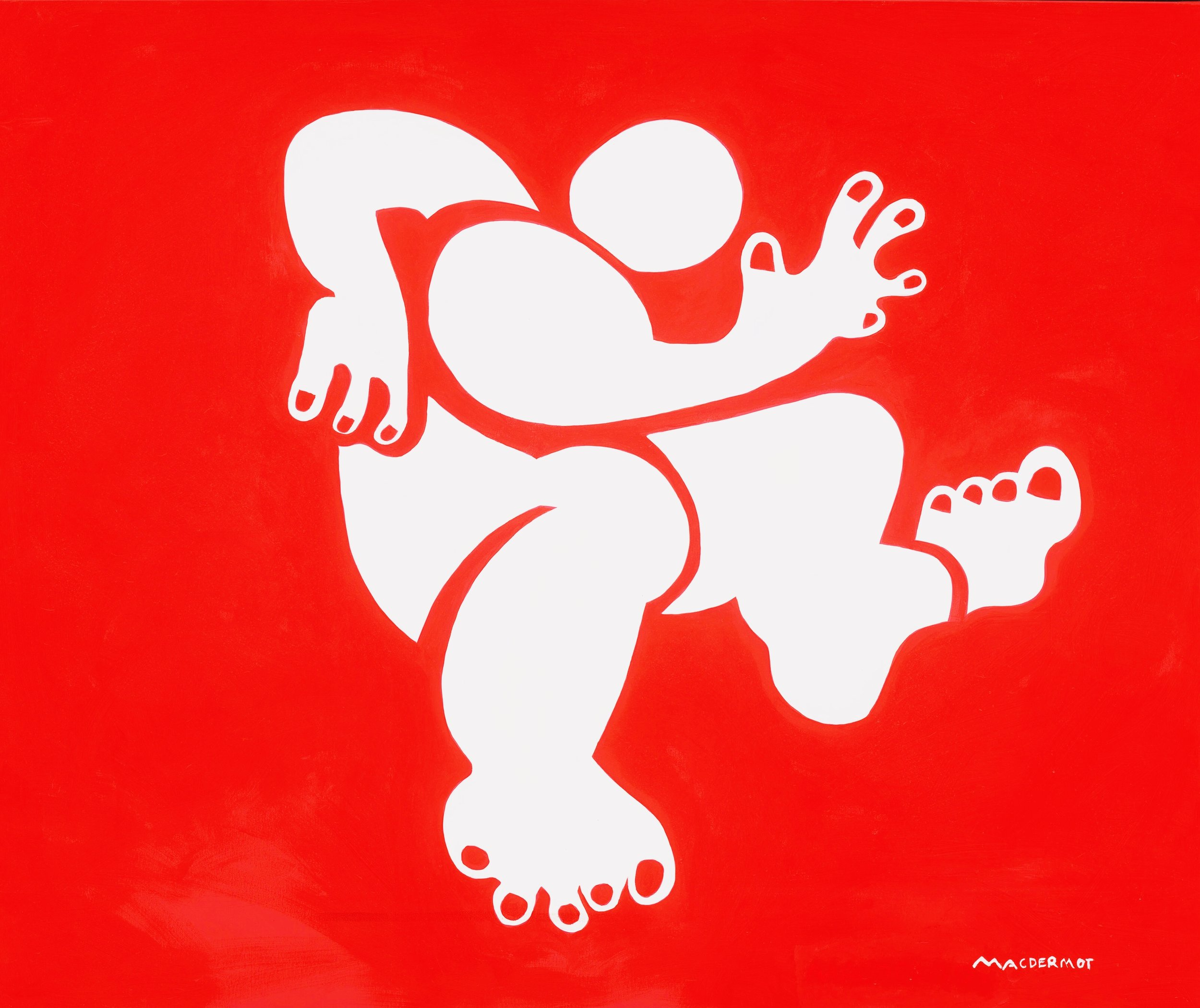 "Big Red NYC series - Leaping Guy 60"" x 78"" acrylic on canvas"