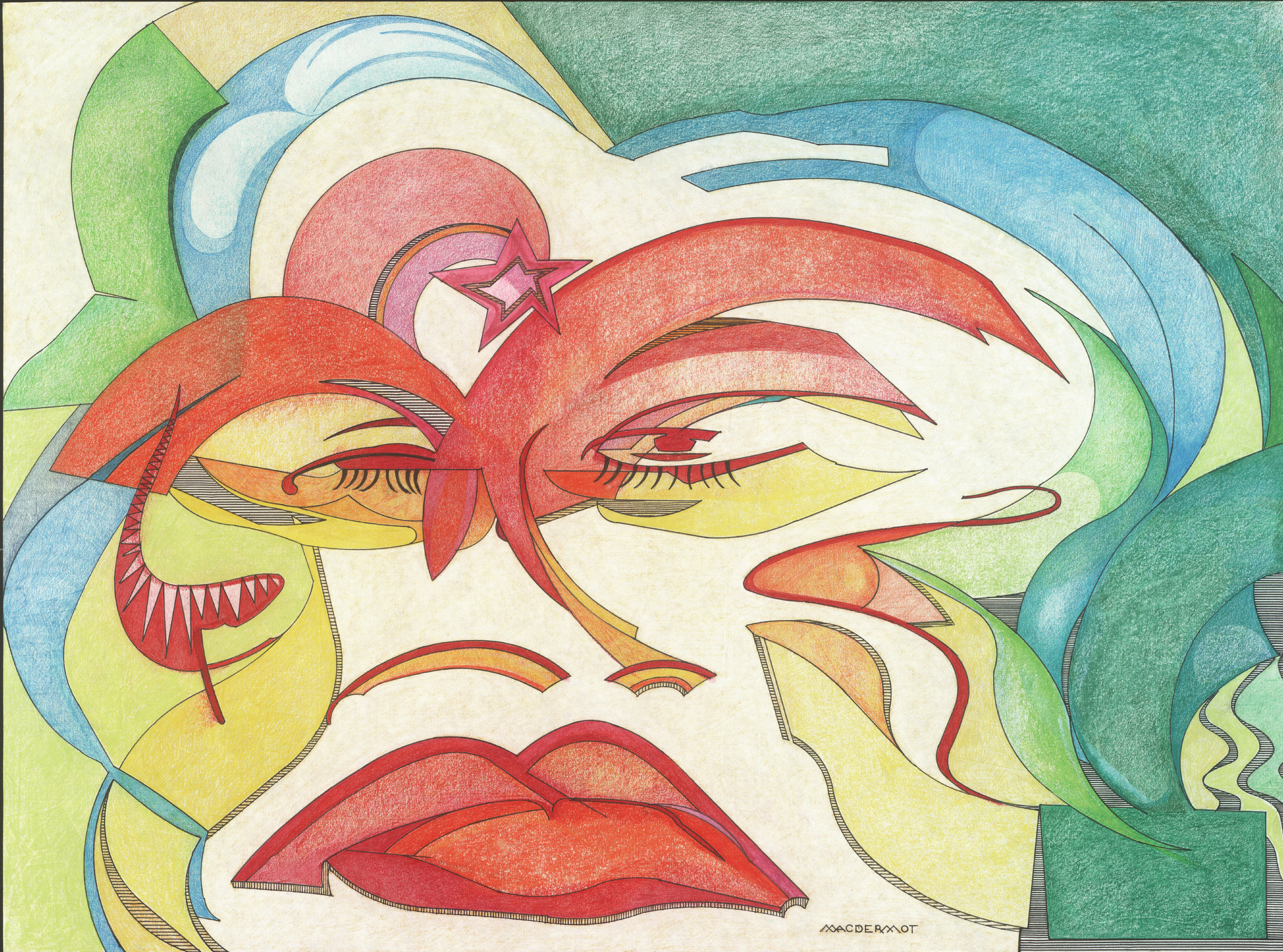"INTENSITY series - FLAT FACE . pen and ink, pastel and colored pencil on strathmore paper 18"" x 4"""