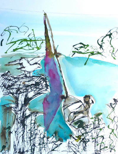 """Sailboat and Osprey, study for """"What If?"""""""