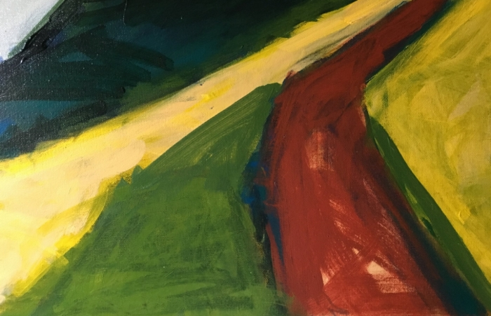 Detail, painting in the Columbia Gorge.