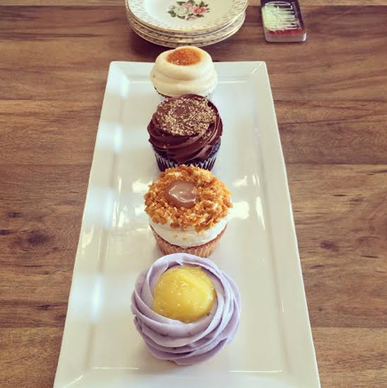 A Cake Tasting from the top: Earl Grey/Peach, Chocolate/Stout, Salted Caramel/Cereal Milk, Lemon Lavender.