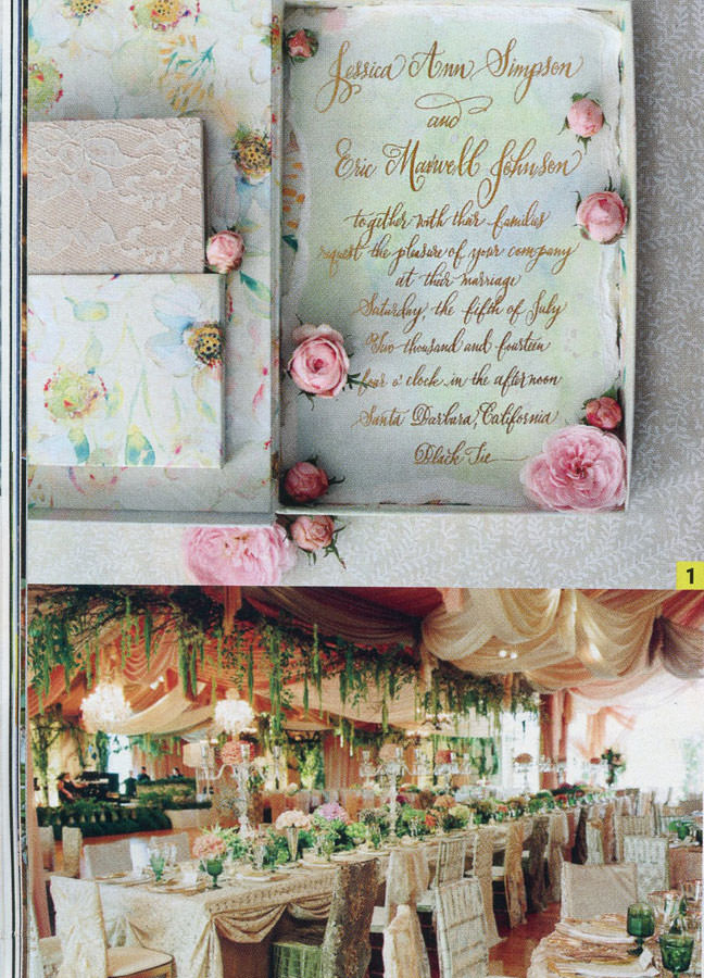 Jessica Simpson's lavish invitation suite created by Kristy Rice.