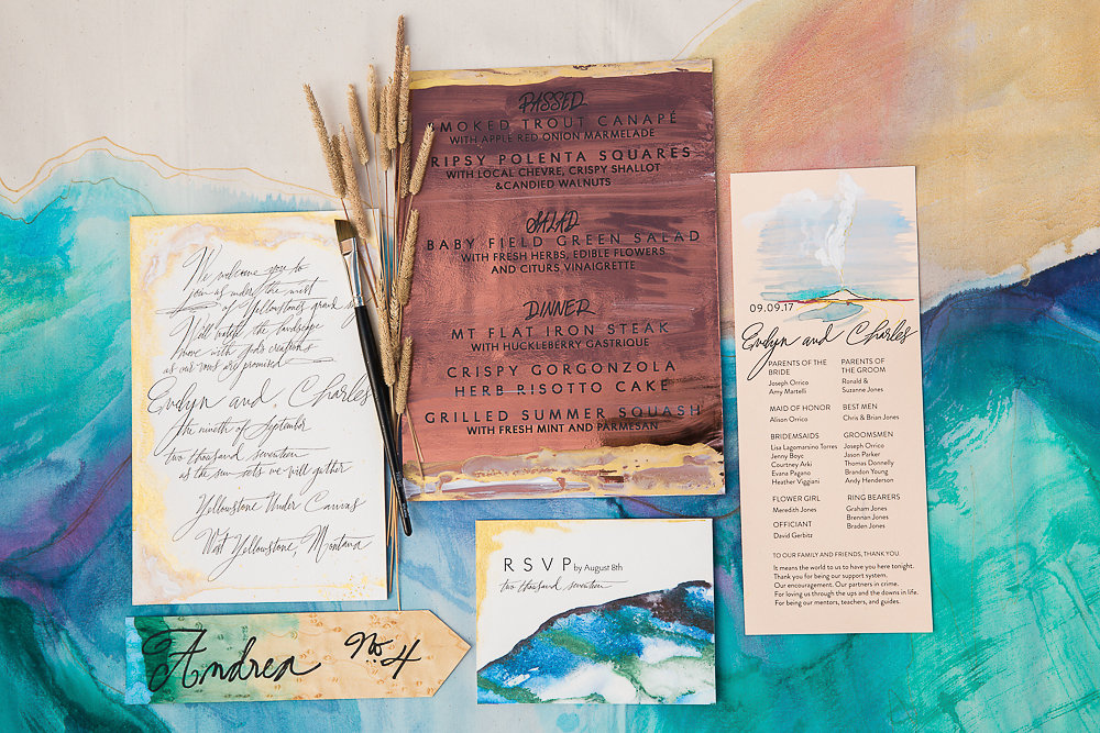 Copper menu, Processional Card, Invitation, Escort card, and RSVP created by Kristy Rice of Momental Design.