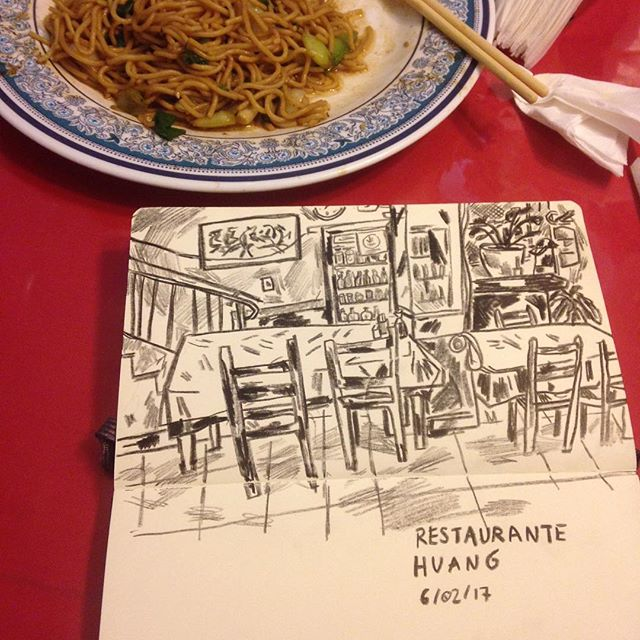 The best chinese food is here in são paulo!! Do you know big of a serving it had to be for me to leave that much noodles on my plate!  #restaurantehuang #illustration #sketchbook
