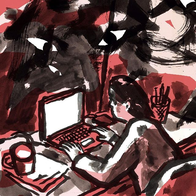 Illustration for @narratively about one woman's story of her sexual assualt and online sexual harrasment