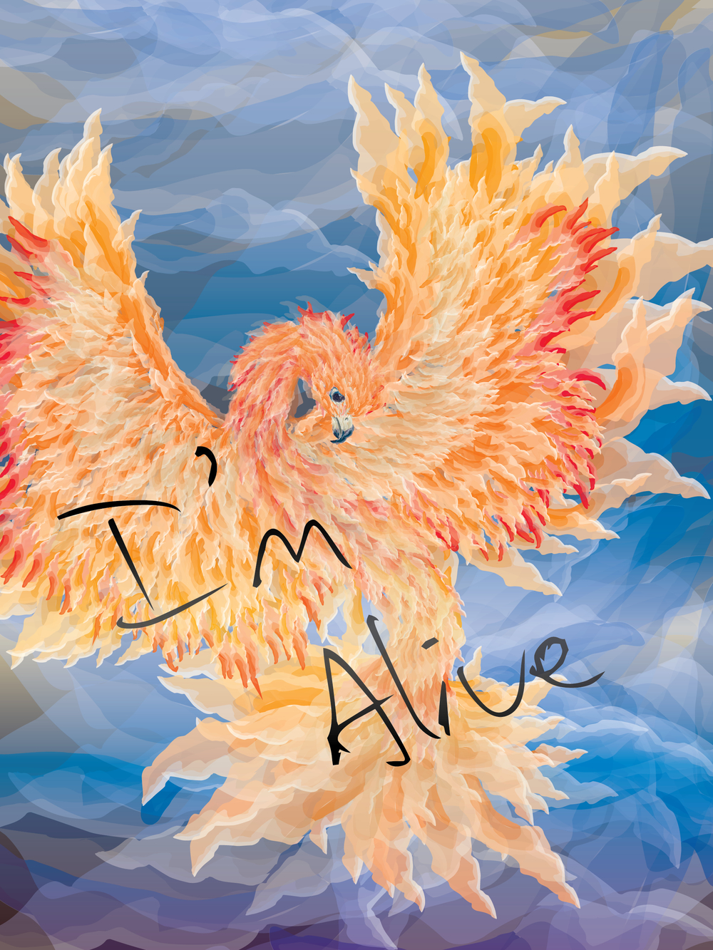 I'M ALIVE   One of the exhibitions works for the I'm Okay, You're Okay exhibit at Richard F. Brush Gallery. Using the iconic phoenix and light brush style, the work was meant to allow for a final uplifting feeling of rebirth, following the heavy themes in the rest of the exhibit. Created May 2014.