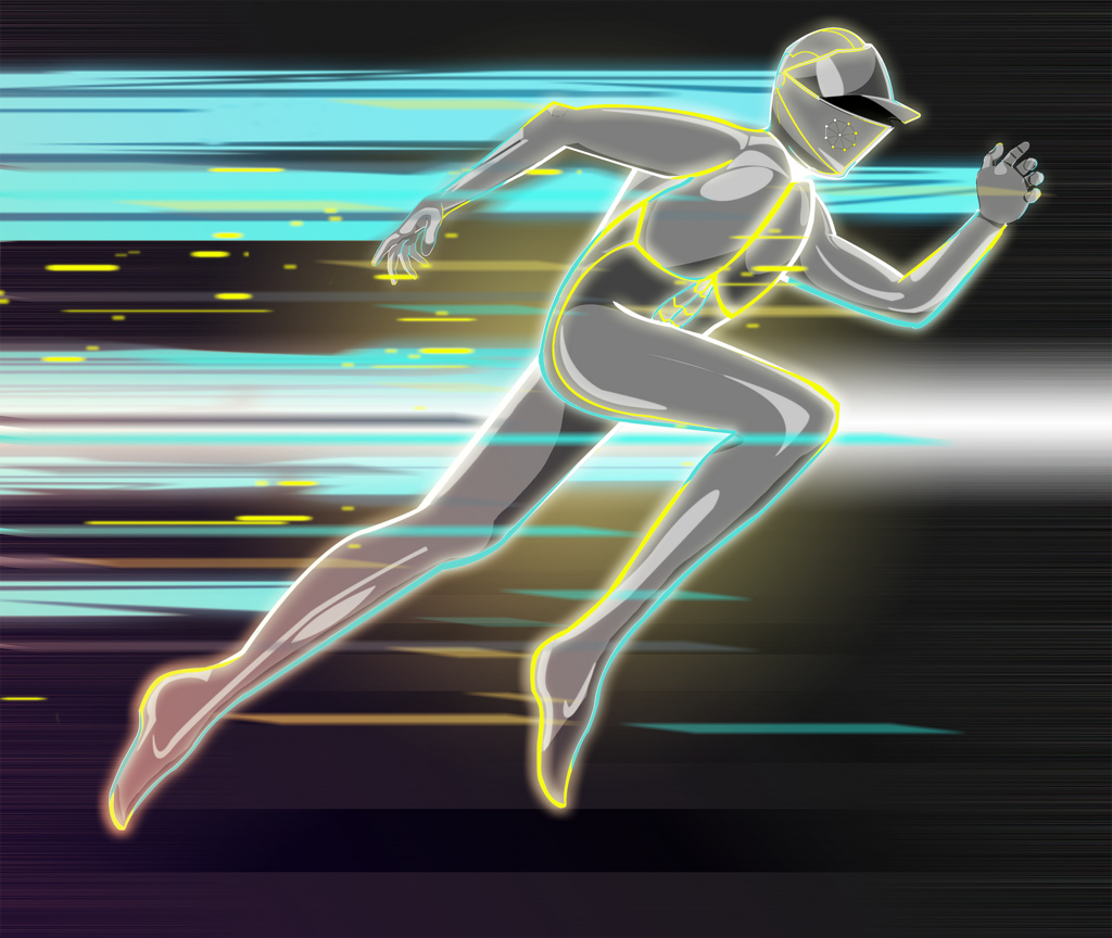 A KNIGHTLY RUNNER   This character was created in student practice exercises. Inspiration was drawn from both Tron and the Flash. Created October 2013.