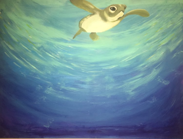 CALMING WATERS   Free paint session on a 2' x 3' canvas for my personal living room. The interior is splashed with mint greens and blues to liven the space. Created Oct 2017.